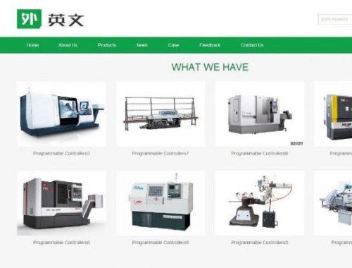 响应式绿色简洁英文外贸机械设备公司网站织梦模板