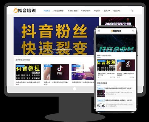 响应式抖音课程培训资讯美文博客seo类网站织梦模板(自适应手机)